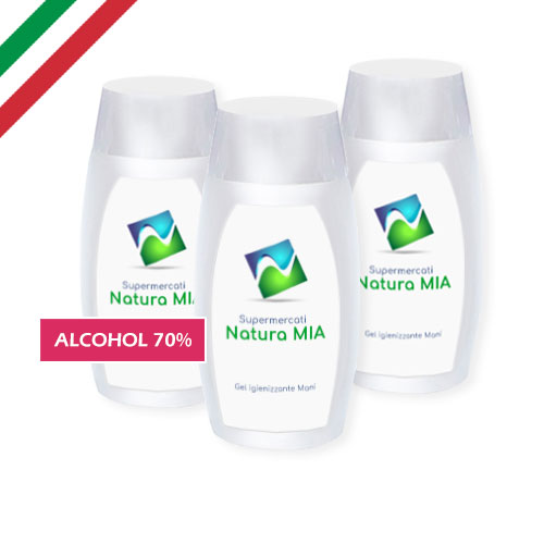 Gel igienizzante mani 50 ml, alcohol 70%, personalizzato supermercati, made in italy