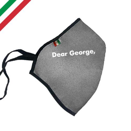 Mascherina personalizzata basic color, personalizzata a un colore, colore grigio, personalizzata dear george