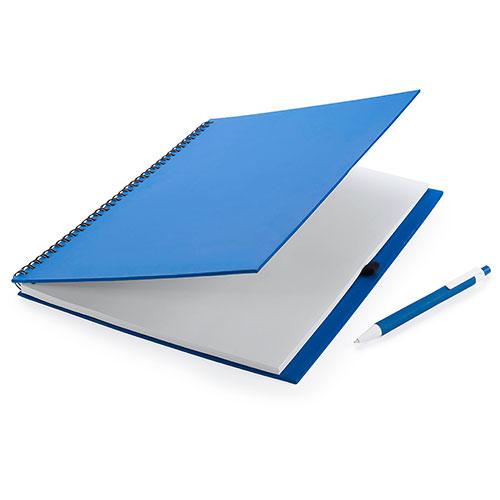 Quaderno riciclato a spirale A4 blu aperto