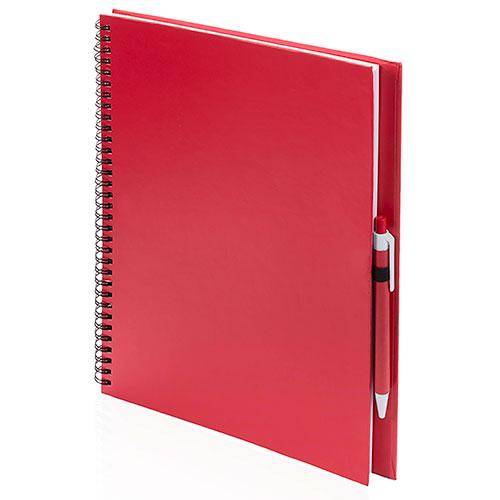 Quaderno riciclato a spirale A4 rosso con penna coordinata