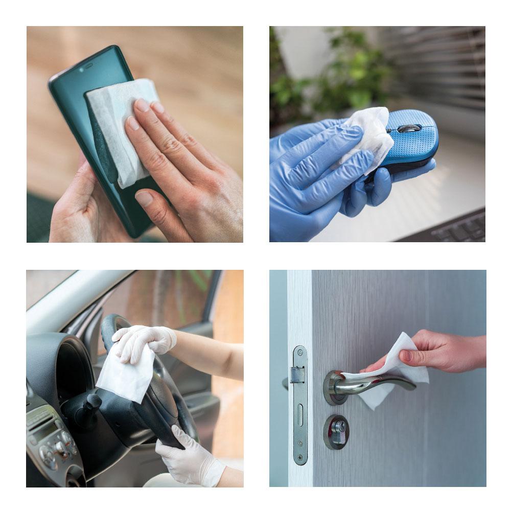 Salvietta igienizzante personalizzata stampata, utilizzo